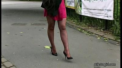 Street, Public street, Sexy feet, Walking, Public solo