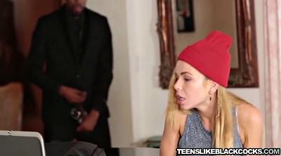 Blonde teen interracial